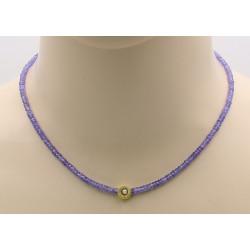 Tansanit Kette facettiert mit Perle 43,5 cm