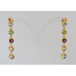 Vergoldete Silber Ohrringe mit fünf Edelsteinen