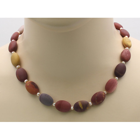 Mookait Kette, Jaspis Halskette mit Perlen 47 cm-Edelsteinketten