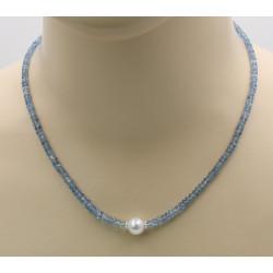 Aquamarin Kette facettiert mit Perle 47 cm