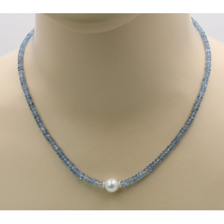 Aquamarin Kette facettiert mit Perle 47,5 cm-Edelsteinketten