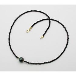 Schwarze Spinell Kette facettiert mit Tahiti Perle