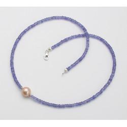 Tansanit Kette facettiert mit Süßwasser Perle 44 cm