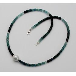 Turmalin Kette grün blau mit Perle 48cm
