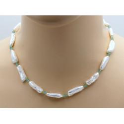 Perlen Kette mit Peridot und Apatit