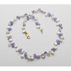 Keshi Perlenkette mit Tansanit-Edelsteinketten