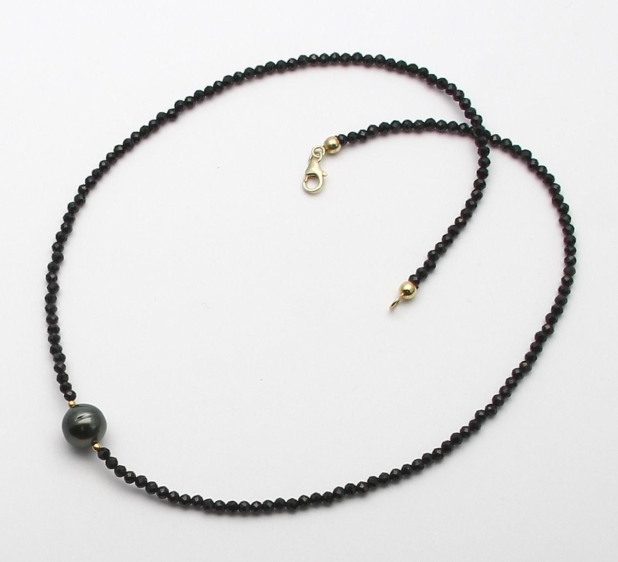 spinellkette schwarzer spinell mit tahiti perle 46 cm in edelstei. Black Bedroom Furniture Sets. Home Design Ideas