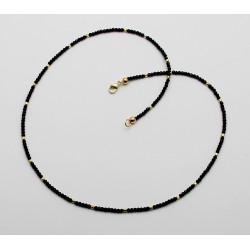 Spinell-Kette - facettiert schwarzer Spinell mit vergoldeten Elementen