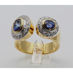 Saphir Ring in 585er Gelbgold mit Brillanten in Ringgröße 58