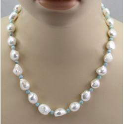 Süßwasser-Perlenkette mit Larimar 53 cm