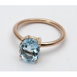 Solitär-Ring mit Aquamarin in 750er Rosè-Gold Gr. 54-Gold-Ringe