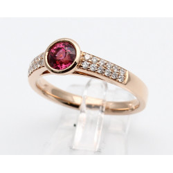 Solitär-Ring in 750er Rosé-Gold Spinell & Brillanten Gr. 54