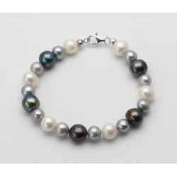 Perlenarmband - Süßwasserperlen tricolour 20,5 cm