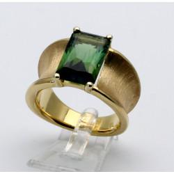 585er Goldring mit grünem Turmalin 5,99 ct Ring Größe 58