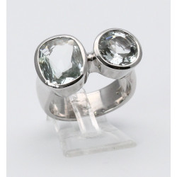 925erSilber-Ring mit Aquamarin facettiert in Ringgröße 56