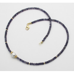 Iolith-Kette blau facettiert mit Perle in 47 cm Länge