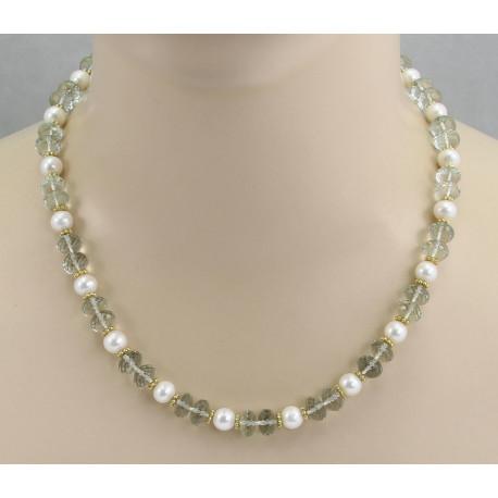 Prasiolith-Kette facettiert mit Perlen 49 cm lang