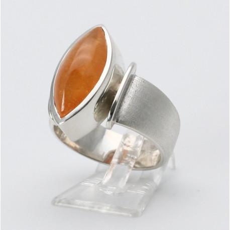 Mandarin-Granat Ring in 925er Silber Ringgröße 57