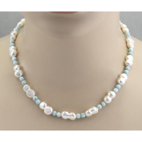 Perlenkette - Süßwasser Zuchtperlen mit Larimar - 46,5 cm-Perlenketten