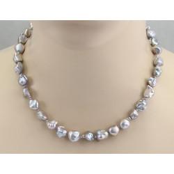 Keshi-Perlenkette silbergraue Süßwasser-Keshiperlen 45 cm