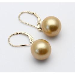Perlen-Ohrringe - Südsee-Perlen goldfarben mit 585/-Brisur