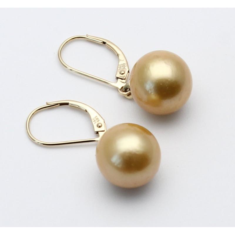 Perlen-Ohrringe - Südsee-Perlen goldfarben mit 585/-Brisur in Perle...