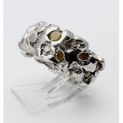 Silber-Ring mit Diamanten in Naturfarben Ring-Größe 56