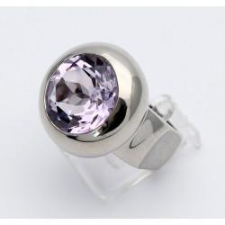 Silber-Ring mit Rosa Amethyst 14 mm rund - Ringgröße 55