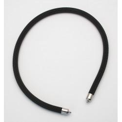 Geflechtkette Milanese Edelstahl schwarz mit 925er Silberkappen