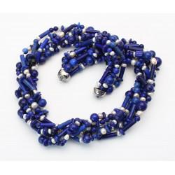 Wechselkette - Lapislazuli Collier 6 reihug mit Perlen 50 cm-Wechselschließen