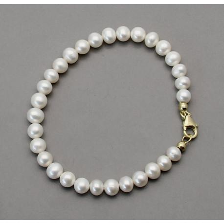Perlenarmband - weiße Süßwasser-Perlen 20,5 cm lang-Perlen-Armbänder
