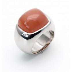Silber-Ring mit Mondstein orange-braun Ringgröße 56