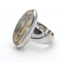 Silber-Ring mit Rutilquarz in Ringgröße 51
