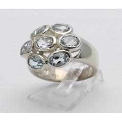 Silber-Rin mit Aquamarin facettiert Ringgröße 55