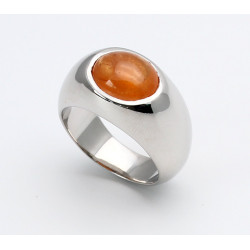 Silber-Ring 925er mit Mandarin-Granat oval Ringgröße 57