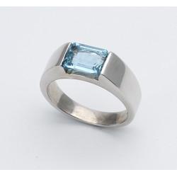 Silberring 925er mit Aquamarin 2,25 ct Ringgröße 58