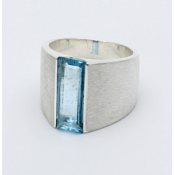 Aquamarin-Ring in 925er Silber Ringgröße 54