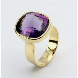 Goldring 585er mit Amethyst im Antikschliff Ringgröße 56-Gold-Ringe