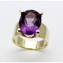 585er Goldring mit Amethyst oval 10 Karat Ringgröße 55-Gold-Ringe