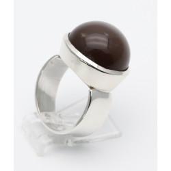 925er Silber-Ring mit Mondstein Cabochon Ringgröße 56