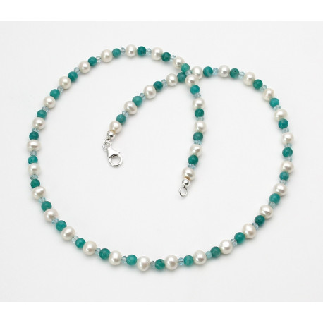 Süßwasser-Perlenkette mit Apatit & Amazonit 46 cm lang-Perlenschmuck