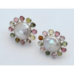 Süßwasser-Perlen Ohrstecker mit Turmalin-Perlen-Ohrringe