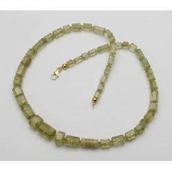 Heliodor-Kette - grüne Beryll Kristalle in 52 cm Länge