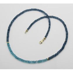 Kyanitkette petrolblau mit Apatit in 47 cm Länge