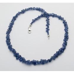 Blaues Saphir Collier in Tropfenform facettiert 46 cm