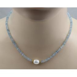 Aquamarinkette facettiert mit weißer Süßwasser-Perle 44 cm