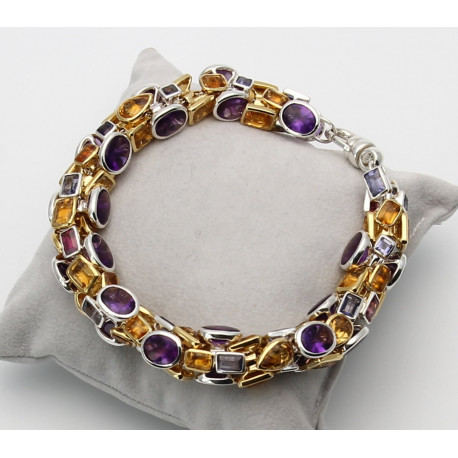 Silberarmband mit Amethyst Citrin Iolith Granat...-Edelstein-Armbänder