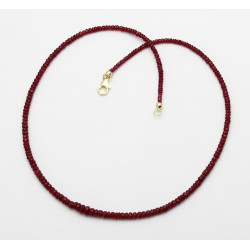 Rubinkette rot facettiert in 44,5 cm Länge