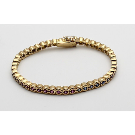 Tennisarmband 750er Gold mit Saphir Farbreihe -Edelstein-Armbänder