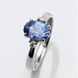 Blauer Saphir-Ring in 750er Weißgold 2,41 Karat Gr. 55-Gold-Ringe
